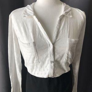 Liz Claiborne White Button-Up Collared Blouse